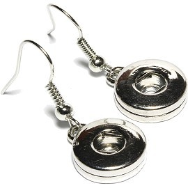1 pair Earring 13mm 2 Snap On Holder Silver ZB128