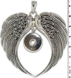 1pc Pendant 18mm Snap on Dark Silver Wing ZB390