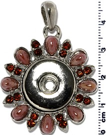 1pc Pendant Rhinestone 18mm Snap On Silver Purple ZB405