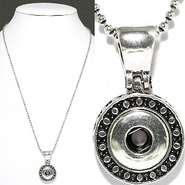 1pc Chain Necklace Charm Snap On 13mm Silver ZB441