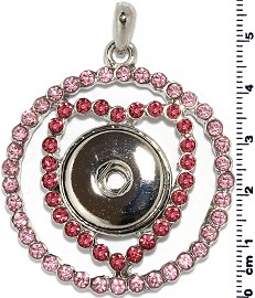 18mm Pendant Pink Rhinestone Snap on Holder ZB485