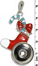 Christmas Stocking Bow 18mm Snap On Holder Pendant Red ZB548