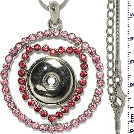Necklace Pink Rhinestone 18mm Snap on Holder ZB554