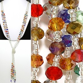Necklace Lariat Crystal Bead Multi Color ZN003