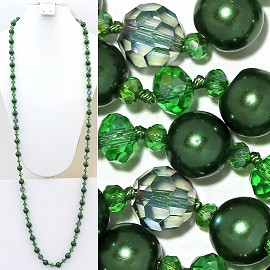 "Necklace Lariat 46"" Inches Crystal Oval Round Bead Green ZN005"