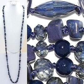 "Necklace Lariat 46"" Crystal Oval Round Stone Bead Blue ZN007"