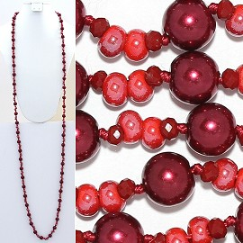 "Necklace Lariat 60"" Crystal Oval Round Beads Red ZN019"