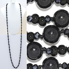 "Necklace Lariat 60"" Crystal Oval Round Beads Black ZN024"