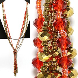 Necklace Lariat Crystal Bead Gold Red ZN027