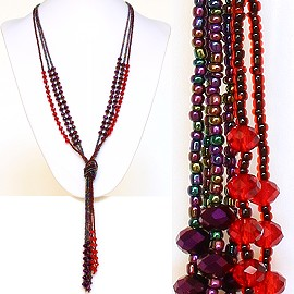 Necklace Lariat Crystal Bead Red Purple Multi Color ZN028