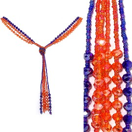 Necklace Lariat Crystal Bead Blue Orange ZN030