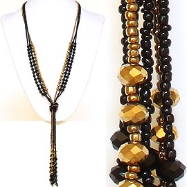 Necklace Lariat Crystal Bead Black Gold ZN033