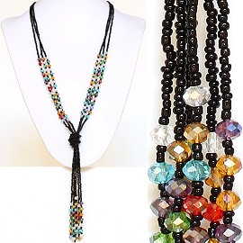Necklace Lariat Crystal Bead Black Multi Color ZN035