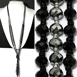 Necklace Lariat Crystal Bead Black Silver ZN040