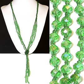 Necklace Lariat Crystal Bead Green ZN043