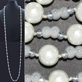 "Necklace Lariat 60"" Crystal Oval Round Beads White ZN044"