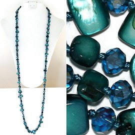 "44"" Lariat Necklace Oval Crystal Rectangle Stone Bead Teal ZN045"