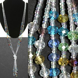Necklace Lariat Crystal Bead Clear Multi Color ZN047