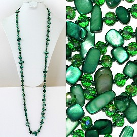 "44"" Lariat Necklace Oval Crystal Rectangle Stone Green ZN048"