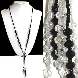 Necklace Lariat Crystal Bead Black Clear ZN050
