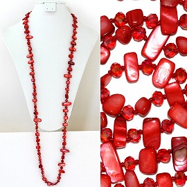 "44"" Lariat Necklace Oval Crystal Rectangle Stone Bead Red ZN054"