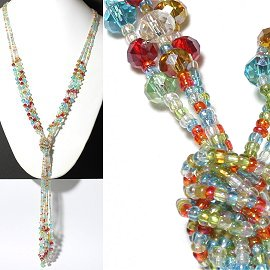 Necklace Lariat Crystal Bead Clear Multi Color ZN057