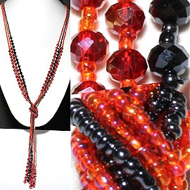 Necklace Lariat Crystal Bead Black Red ZN058