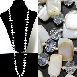 "44"" Lariat Necklace Oval Crystal Rectangle Stone White ZN064"
