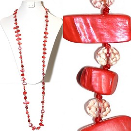 "44"" Lariat Necklace Oval Crystal Shapes Stone Bead Red Cle ZN066"