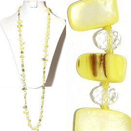 "44"" Lariat Necklace Oval Crystal Mix Stone Bead Yellow Cle ZN068"