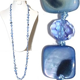 "44"" Lariat Necklace Oval Crystal Mix Stone Bead Blue Clear ZN069"