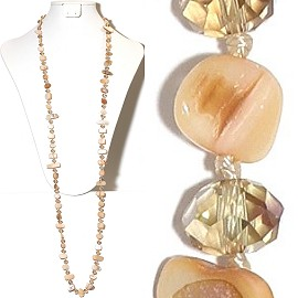 "44"" Lariat Necklace Oval Crystal Mix Stone Bead Tan Peach ZN070 - Click Image to Close"