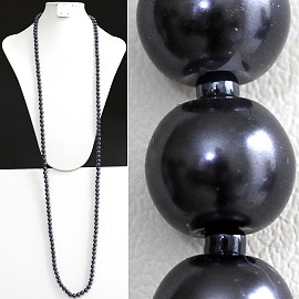 "52"" 8mm Lariat Necklace Smooth Beads, 2mm Dark Gray ZN078"