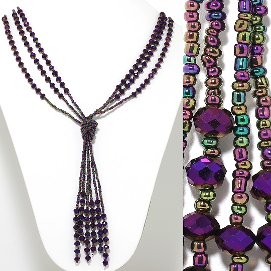 Necklace Lariat 3-Line Crystal Bead Aurora Borealis Purple ZN080
