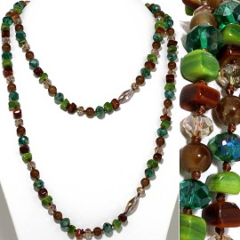 "48"" Lariat Necklace Square Stone Oval Crystal Bead M Green ZN083"