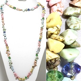 "46"" Lariat Necklace Mini Stone Shards Oval Crystal LT MixC ZN094"