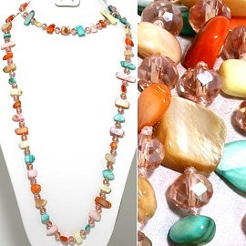 "46"" Lariat Necklace Flat Stone Oval Crystal Bead Mix Turqu ZN096"