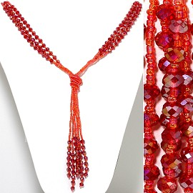 Necklace Lariat Crystal Oval Bead Orange Red ZN100