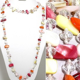 "46"" Lariat Necklace Flat Stone Oval Crystal Bead Mix MaYeC ZN102"