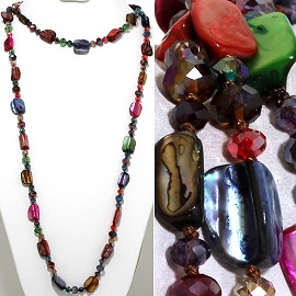 "46"" Lariat Necklace Mix Shape Shell Crystal Bead Multi Col ZN103"