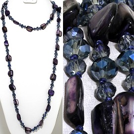 "46"" Lariat Necklace Mix Shape Shell Crystal Bead Dk Purple ZN104"