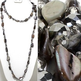 "46"" Lariat Necklace Mix Shape Shell Crystal Bead Gray Silv ZN107"