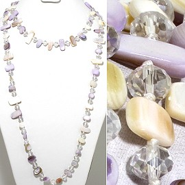 "46"" Lariat Necklace Flat Stone Crystal Bead Light Mix Colo ZN112"