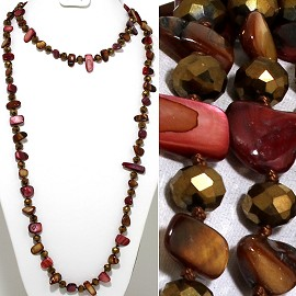 "46"" Lariat Necklace Flat Stone Crystal Bead Brown Maroon ZN115"