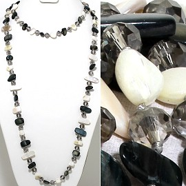 "46"" Lariat Necklace Flat Stone Crystal Bead Black White Cl ZN117"