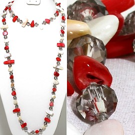 "46"" Lariat Necklace Flat Stone Crystal Bead Red White Clea ZN119"