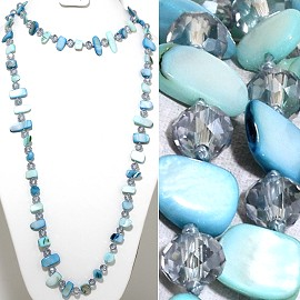 "46"" Lariat Necklace Flat Stone Crystal Bead LT Blue Turquo ZN124"