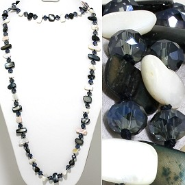 "46"" Lariat Necklace Flat Stone Crystal Bead Black Dk Blue ZN125"