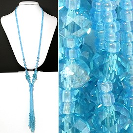 Seed Bead Crystal Blue Necklace ZN130