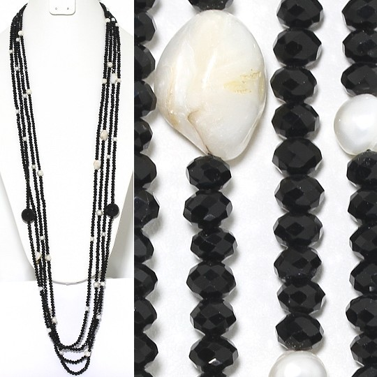 Necklace Lariat 4-Line Crystal Freshwater Pearl Bead Black ZN140